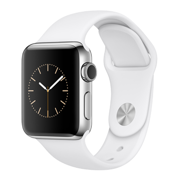 Apple Watch Stainless Steel Case with White Sport Band (38MM)